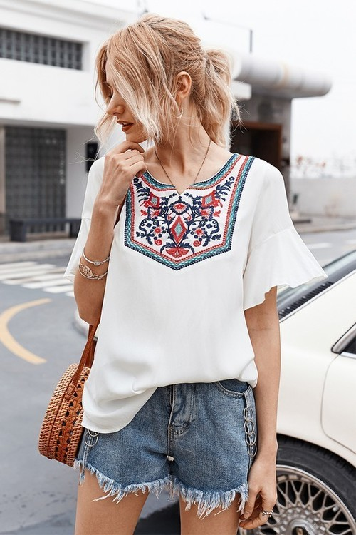 Embroidered Neckline Short Sleeve Top
