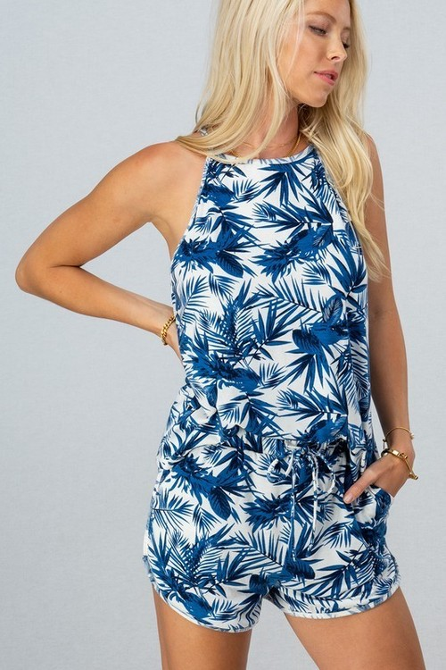 Tropical Leaf Print Sleeveless Set