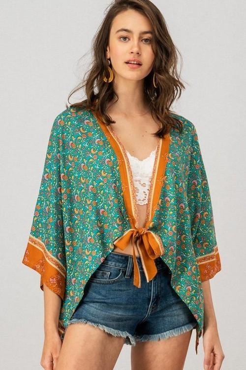 Floral Print Spring Kimono Cardigan