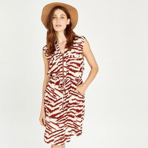 Apricot Zebra Zip Front Utility Dress
