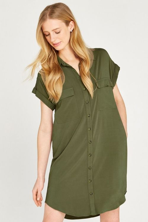 Apricot Utility Shirt Dress