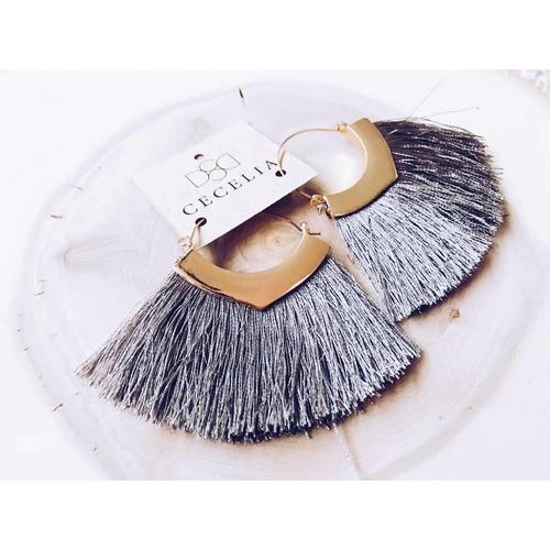 Cecelia Gold Hoop Grey Fringe Tassel Earring