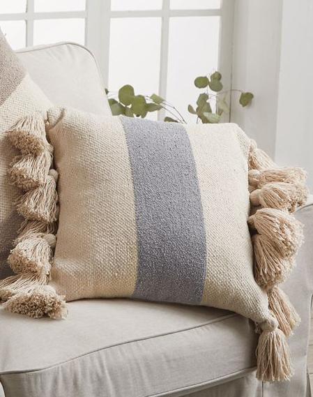 Blue Square Stripe Pillow