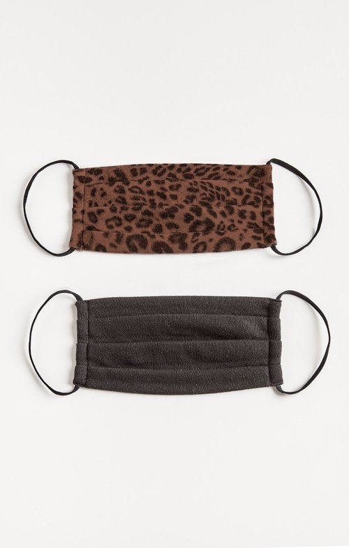 Leopard Reusable Face Mask 2 Pack French Roast/Black