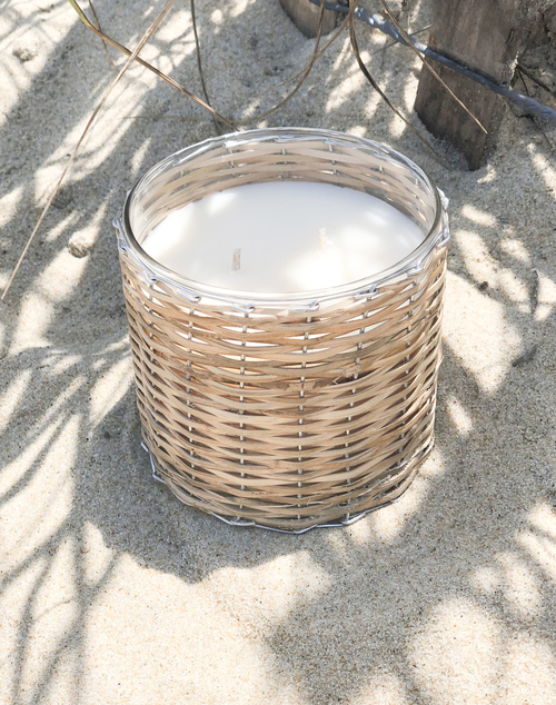 Beach Wood 2 Wick Hand Woven Candle