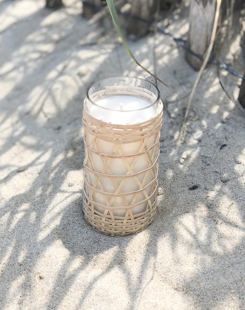 Salt and Sea Bamboo Candle Glass