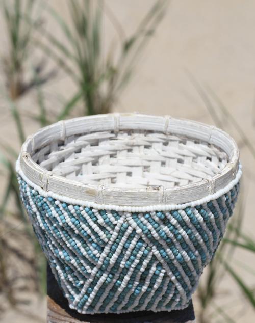 Bamboo Beaded Trinket Bowl Aqua