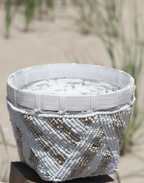 Bamboo Beaded Trinket Bowl Natural