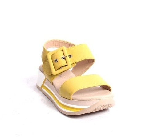 Yellow Leather Slingback Platform Sandals