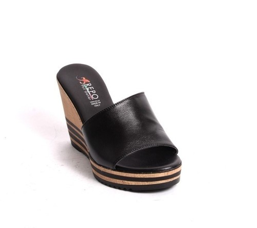 Black Leather Slides Wedge Sandals