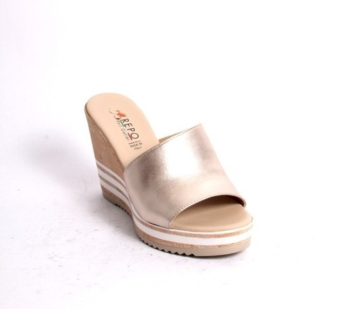 Gold White Leather Slides Wedge Sandals