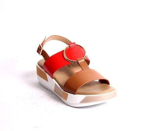 Brown Red Gold Leather Platform Sandals