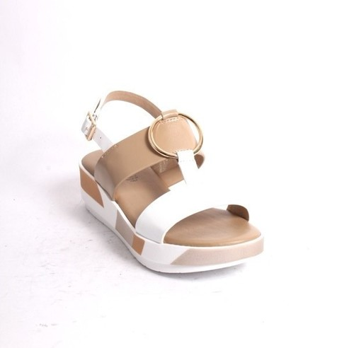 White Beige Gold Leather Platform Sandals