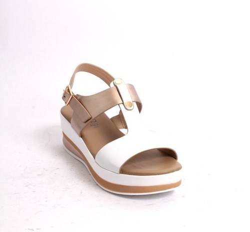White Gold Leather Strappy Platform Sandal
