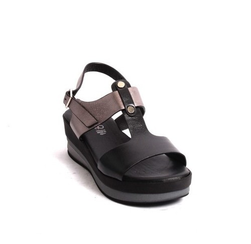 Black Leather Ankle Strap Platform Sandals