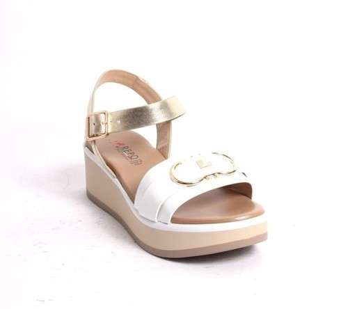 White Gold Leather Strappy Platform Sandals