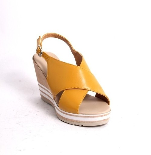 Dull Yellow Leather Slingback Wedge Sandal