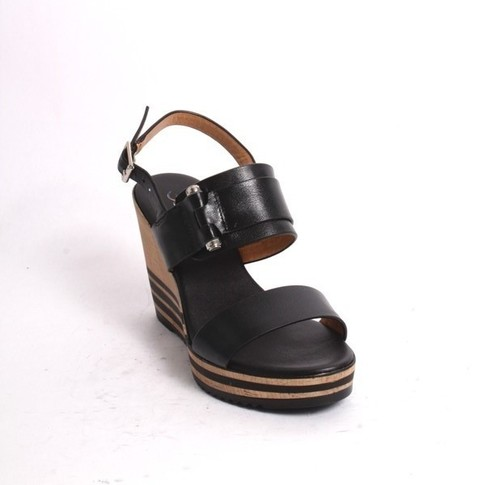 Black Leather Slingback Wedge Sandals