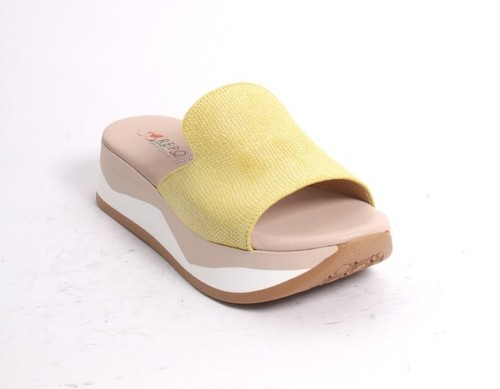 Yellow Leather Slides Platform Sandals