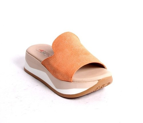 Orange Leather Slides Platform Sandals