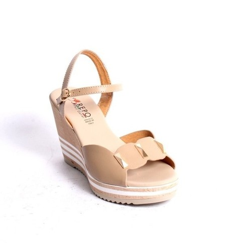 Beige Leather Ankle Strap Wedge Sandals