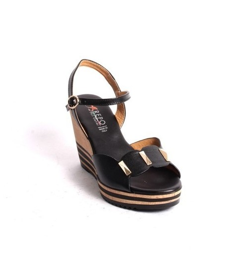 Black Gold Leather Ankle Strap Wedge Sandal