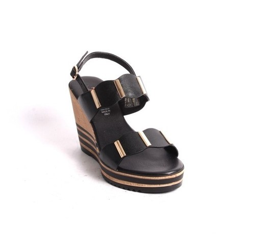 Black Gold Leather Slingback Wedge Sandals