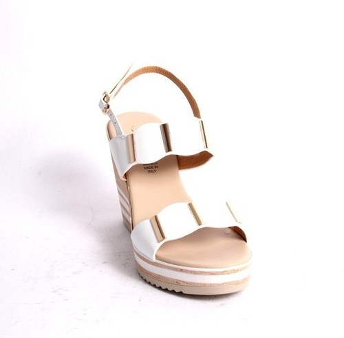 White Gold Leather Slingback Wedge Sandals