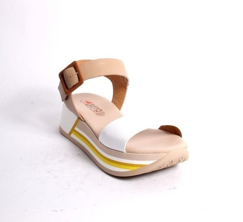 White Beige Leather Strappy Platform Sandal