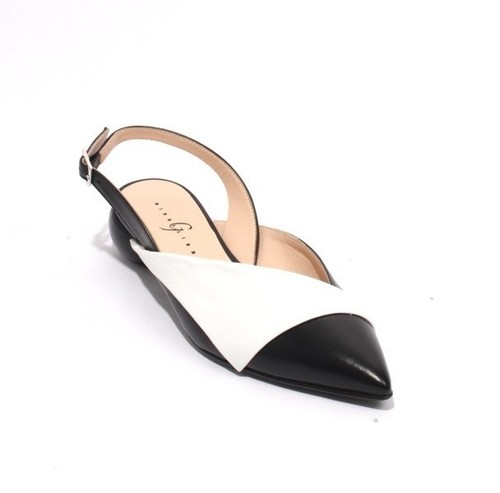 White / Black Leather Pointed Toe Slingback Sandals