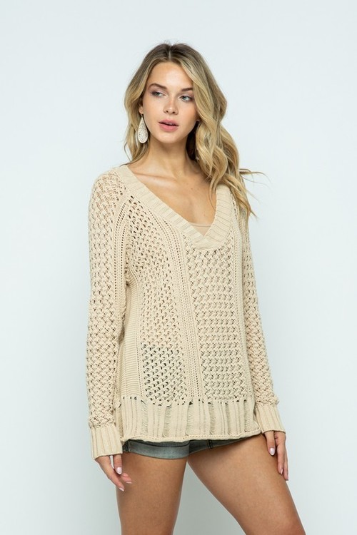 Cable Knit V Neck Raglan Pullover