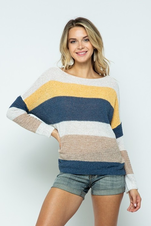 Striped Long Sleeve Dolman