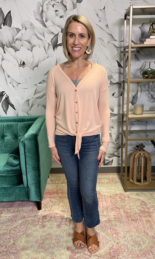 Blush Long Sleeve Button Down Tie Front Top
