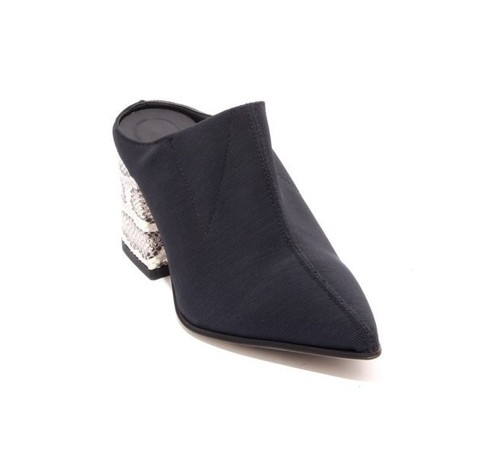 Black Textile / Leather Pointed Toe Heel Mule