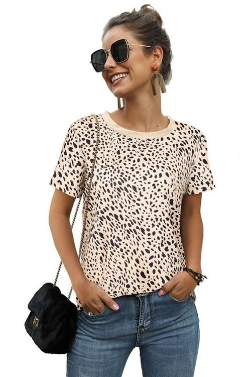 Beige Leopard Print Round Neck Top