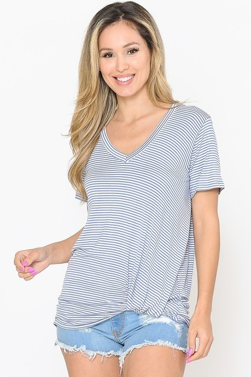 Stripe V Neck Side Tie Top