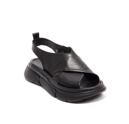 Black Leather Platform Slingback Sandals