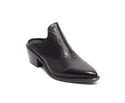 Black Leather Textile Slip On Pointy Mules