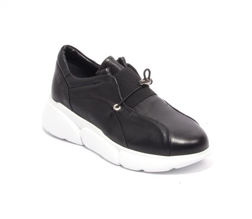 Black Leather Stretch Platform Sneakers Shoes