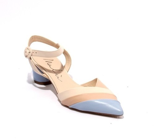 Multicolor Leather Pointed Toe Ankle Strap Heel Sandals