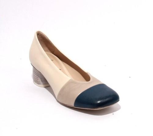 Multicolor Leather Close Square Toe Heel Shoes Pumps