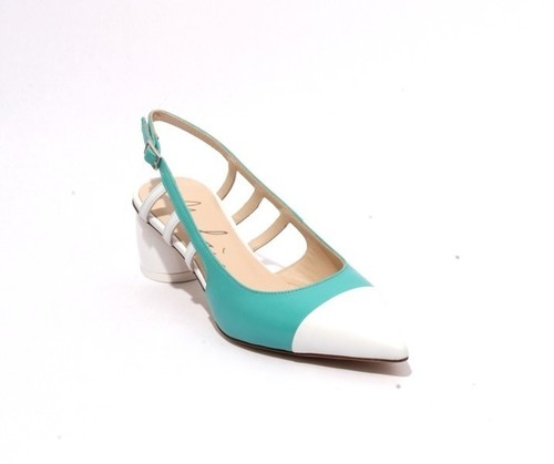 Multicolor Leather Pointed Toe Slingback Heel Sandals