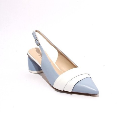 Blue White Leather Pointy Slingback Heel Classic Sandals