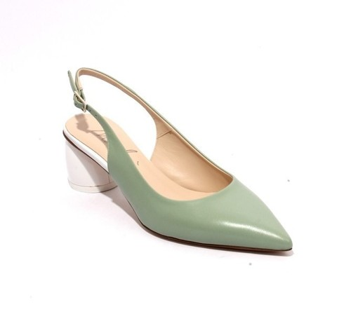 Light Green White Leather Pointy Slingback Heel Sandals