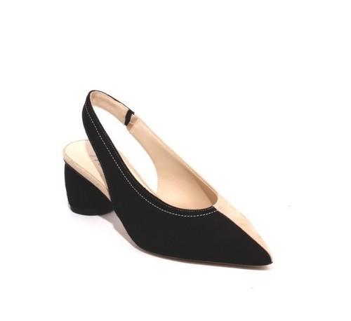 Beige Black Suede Leather Pointy Slingback Heel Sandals
