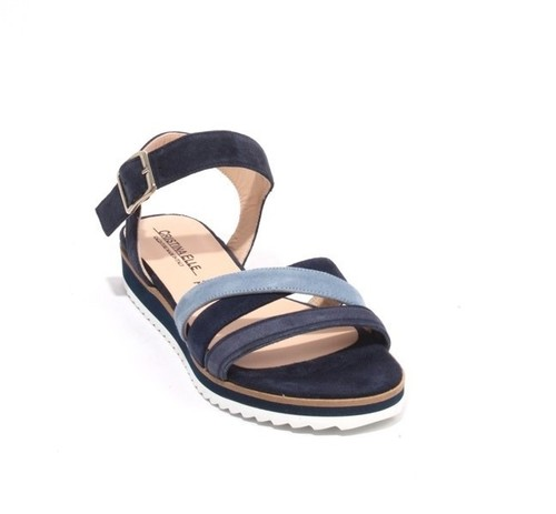 Navy Blue Suede Leather Strappy Platform Sandals