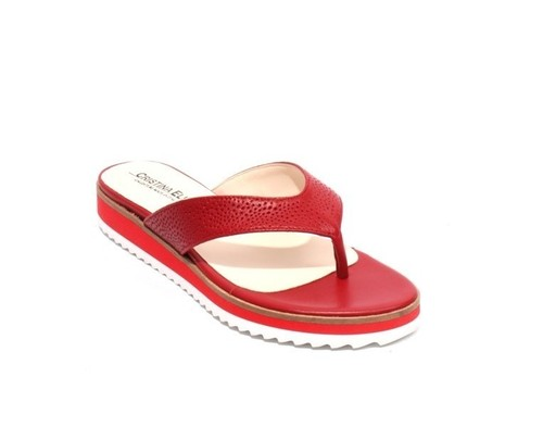 Red White Leather Thong Platform Flats Sandals