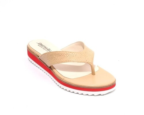 Beige Red Leather Thong Platform Flats Sandals