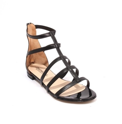 Black Leather Patent Zipper Flat Gladiators Sandals