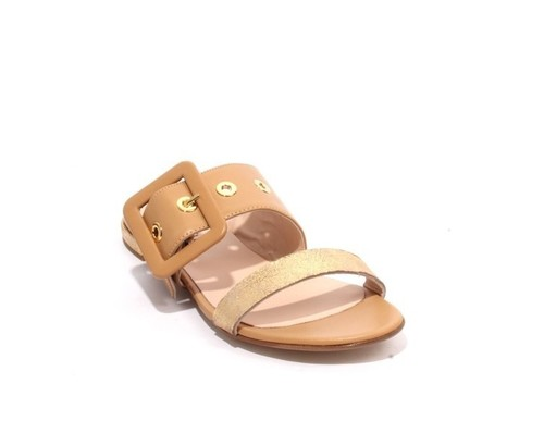 Beige Gold Leather Buckle Slides Flat Sandals